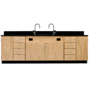 Diversified Woodcrafts Wooden Science Wall Service Workstation with Sink and Cabinets