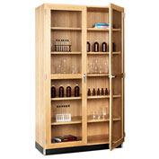 "Diversified Woodcrafts Tall Storage Science Cabinet with Glass Doors 84""H - Oak"