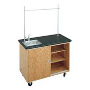 "Diversified Woodcrafts Economy Mobile Science Workstation - 48""L x 24""W - Oak with Black Top"