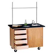 Diversified Woodcrafts Mobile Science Workstation with Drawers - Oak with Chemguard Top