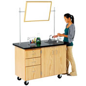 "Mobile Desk with Storage 48""L x 28""W - Chemguard Top"