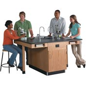 Four Student Workstation with Book Compartments and  Cupboard