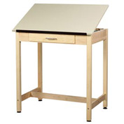 "Drafting Table 36""L x 24""W x 36""H - 1 Piece Top - Large Drawer"