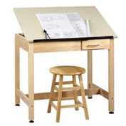 "Drafting Table 36""L x 24""W x 30""H - 1 Piece Top - Small Drawer"
