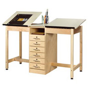 "Drafting Table 60""L x 24""W - 2 Station w/ 6 Drawers"