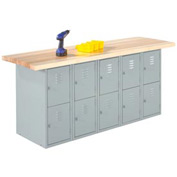 Wall & Island Bench (Horizontal Lockers) - 12' x 2'