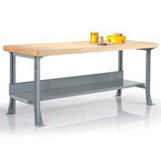 "Steel Workbench with Maple Butcher Block Square Edge Top & Shelf- 96"" x 30"""