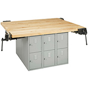 "Workbench with 4 Vises 64""L x 54""W - Maple Top"