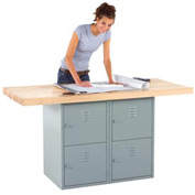 2-Station Workbench W/ 2 Vises (4 Lockers)