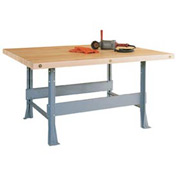 2-Station Steel Workbench with Maple Butcher Block Square Edge Top and 2 Vises