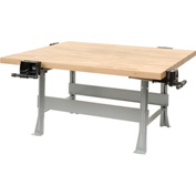 4-Station Workbench with Maple Butcher Block Square Edge Top and 4 Vises