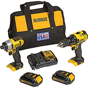 DeWALT® 20V MAX* Lithium Ion Combo Kit (1.5 Ah), DCK280C2, 2-Tool Kit