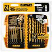DeWALT® Pilot Point® Titanium Drill Bit Set, DW1361, 21 Piece Set - Pkg Qty 5
