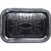 "Winco CMT-1812 Rectangular Serving Tray, 18""L, Chrome, Gadroon Edge W/ Engraving - Pkg Qty 12"