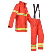 Mullion 1MI9XL Professional Fire Fighter Suit, SOLAS/MED, Orange, XL