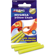"Dixon® Hygieia Dustless Board Chalk, 3-1/4"" x 3/8"", Yellow, 12/Box"