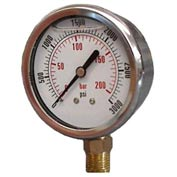 "Dynamic 2 1/2 "" Fluid Glycerine Filled Pressure Gage Stem 1000 PSI"