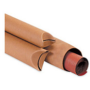 "Crimped End Tube, 12""L x 4"" Diameter x 0.08 Wall Thickness, Kraft, 15 Pack"