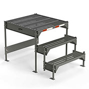 "EGA Steel Custom Work Platform, 36"" W x 39"" D x 33"" H, 3-Step, Gray, No Handrail - CW1-33-3-3"