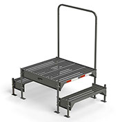 "EGA Steel Custom Work Platform, 36"" W x 39"" D, Dual Access, 2-Step, Gray, 500 lb. Cap. - CW3-21-2-3"