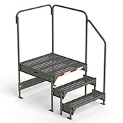 "EGA Steel Custom Work Platform, 36"" W x 39"" D x 27"" H, 3-Step, Gray, 500 lb. Cap. - CW7-27-3-3"