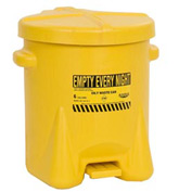 Eagle Poly Waste Can - Yellow with Foot Lever 6 Gallon