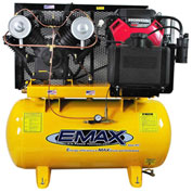 EMAX, EGES1830ST, 18HP, Two-Stage Compressor, 30 Gal, Horiz., 175 PSI, Honda Engine, Electric Start