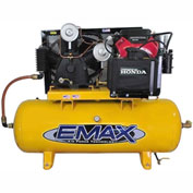 EMAX, EGES2480ST, 24HP, Two-Stage Compressor, 80 Gal, Horiz., 175 PSI, Honda Engine, Electric Start