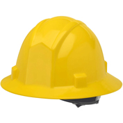 Elvex® VOLT FB ™ Full Brim Hard Hat W/4Pt. Ratchet Suspension, Yellow,WELSC200Y