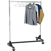 Rolling Z Rack - Heavy Duty Square Tubing (RZ/1) - Chrome Upright & Hangrail - Black Base