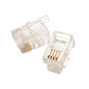 Eclipse Tools 702-001 Modular Plug 4P4C - Flat Cable, Clear, 50 uin Gold, 50/Pk