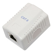 Eclipse Tools 7PK-342RC6US-MWH Surface Mounted Box W/Single Port, CAT6, 1 Port, White