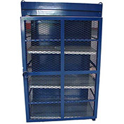 "18 Capacity, 20 Lbs. Cylinders, Heavy Duty Steel Gas Cylinder Cage, 44""W x 30""D x 68"", Blue"