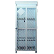 "8 Capacity, 30 Lbs. Cylinders, Heavy Duty Steel Gas Cylinder Cage, 30""W x 30""D x 70""H, White"