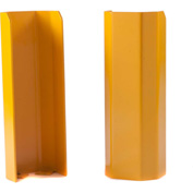 "Angled Wall Corner Guard, 18""H, Stainless Steel with Yellow Powder Coat"