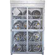 "12 Capacity, 33 Lbs. Cylinders, Galvanized Steel Gas Cylinder Cage, 30""W x 44""D x 68""H, Silver"