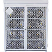 "16 Capacity, 33 Lbs. Cylinders, Heavy Duty Steel Gas Cylinder Cage, 60""W x 60""D x 68""H, White"