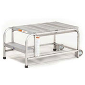 "EGA Mobile Aluminum Work Platform 3-Step, No Handrails, 24"" W Ribbed, Mill, 300 lb. Cap. - A005"