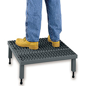 "EGA Steel Adjustable Height Platform 1-Step, 24"" Wide Grip Strut, Gray, 500 lb. Cap. - AHW-H-2460"