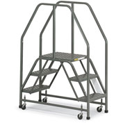 "EGA Steel Double Entry Platform 3-Step, 16"" Wide Perforated, Gray, 300 lb. Cap. - E002"