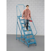 "EGA Steel 360 Degree Rotating Ladder 8-Step, 24"" Wide Grip Strut, Blue, 450 lb. Cap. - K302"
