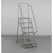 "EGA Steel Industrial Rolling Ladder 7-Step, 24"" Wide Perforated, Gray, 450 lb. Cap. - L027"