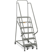 "EGA Industrial Rolling Ladder 8-Step 26"" Wide Perforated, Gray 450Lb. Capacity - L055"