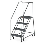 "EGA Steel EZY-Climb Ladder w/ Handrails 3-Step, 30"" Wide Perforated, Gray, 450 lb. Cap. - R026"