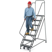 "EGA Steel EZY-Climb Ladder w/ Handrails 7-Step, 24"" Wide Perforated, Gray, 450 lb. Cap. - R103"