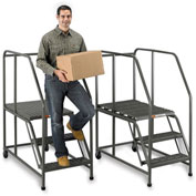 "EGA Steel Mobile Work Platform 3-Step, No Handrail, 24"" W Perforated, Gray, 800 lb. Cap. - W003"