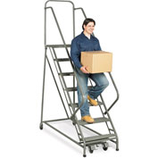 "EGA Steel EZY-Climb Ladder w/ Handrails 6-Step, 16"" Wide Grip Strut, Gray, 450 lb. Cap. - Z017"