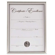 "Burnes Backloading Certificate Frame for 8-1/2"" x 11"" Documents Silver"