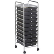 "ECR4Kids® 10-Drawer Mobile Organizer, 15-13/32""L x 12-3/4""W x 38""H, Smoke"