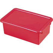 ECR4Kids®  ELR-0102 Stack & Store Tub w/ Lid, 13-1/26x8-5/8x5-5/16, Red, Priced Each - Pkg Qty 6